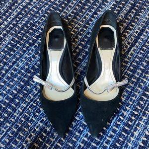 Dior silver bow black suede heels pumps
